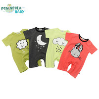 New 2017 Summer Baby Rompers Clothes Short Sleeve Newborn Baby Clothing Boy Girl White Cloud Rabbit