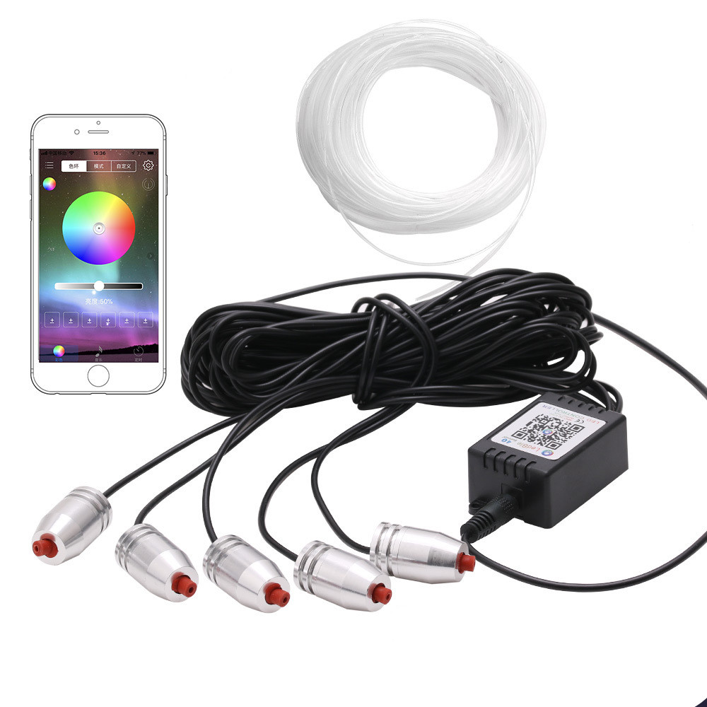 6m RGB Car 12V LED Cold lights Flexible Neon EL Wire Auto Lamps on Car with APP bluetooth Strips Line Interior Decoration lights 1m 2m 3m 4m 5m 12v car led cold lights flexible neon el wire auto lamps on car cold light strips line decorative led strip lamps