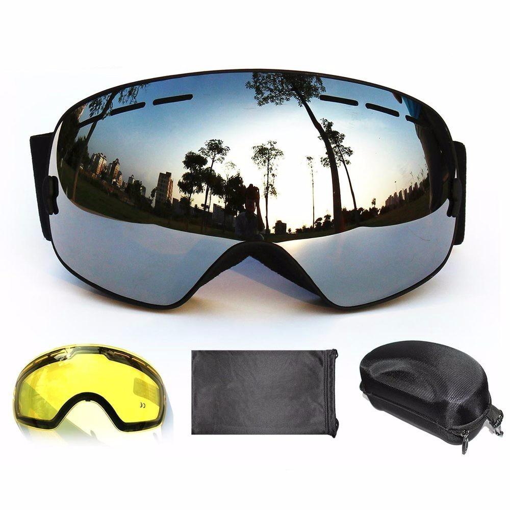 BENICE Brand Snowboard Goggles 2 Double Lens UV400 Anti-fog Spherical Ski Glasses Skiing Men Women Ski Goggles +Lens+Box Set