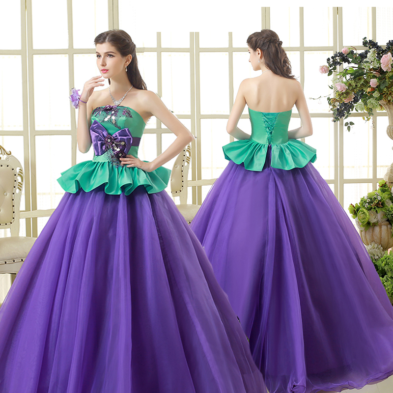 Free ship purple and green bowknot ball gown long dress Medieval ...
