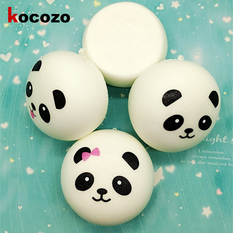 New 10cm Kawaii Jumbo Soft Squishy Panda Buns Bread Bag Cell Phone Strap Cute Animal Panda Charm Random Pattern
