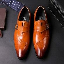 Деловые лоферы в итальянском стиле из коровьей кожи с ремешком; мужские вечерние туфли в деловом стиле; элегантная обувь для мужчин; дышащая обувь коричневого цвета