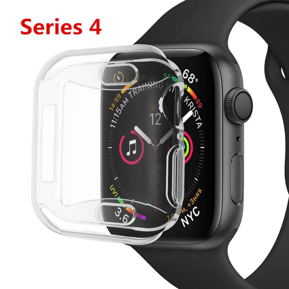 Silicone case For apple watch 4 44mm 40mm 42mm 38mm soft cover iwatch series 4 3 2 All-around Ultra-thin Clear frame watch case