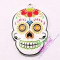 Envío Gratis 10 unids/lote DIY Chunky Colgante Colorida Pintura Al Óleo Cráneo Lindo Colgante Para Los Niños DIY de La Joyería # CDRP-503564