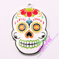 Free Shipping 10pcs/lot DIY Chunky Pendant Colorful Oil Paint Cute Skull Pendant For Children DIY Jewelry # CDRP-503564