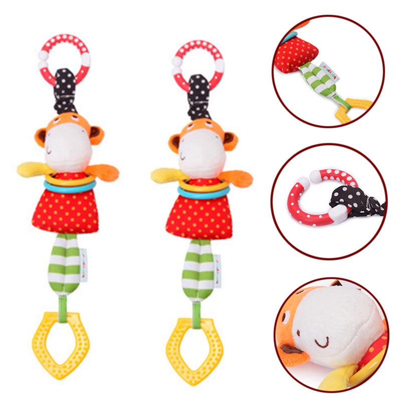 Baby Hanging Rattle Toys Monkey Cattle Plush Doll Music Mobile Crib Bed Lathe Rattles Infants Bell Teethers Toy
