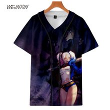 WEJNXIN V-Neck Harley Quinn Deadpool 3D Print T Shirt The Joker Suicide Squad Men Women Top Tee Single Breasted Camiseta Shirts(China)