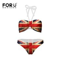FORUDESIGNS Girls Summer Style Bikini Set Supper Push Up UK USA Flag Swimwear Bikini Kids Two