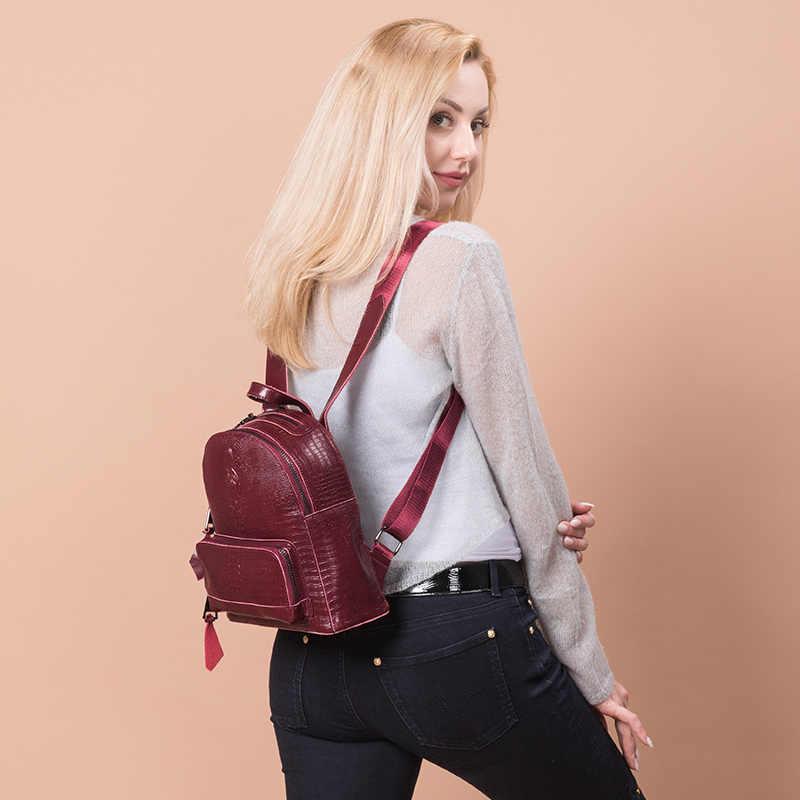REALER рюкзак женские небольшие рюкзаки для девочек подростков Сплит кожа крокодила с принтами дамы плечо сумки дорожные