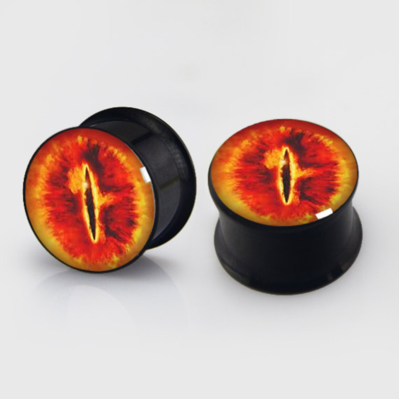 2 pieces lord eye plugs anodized black ear plug gauges steel flesh tunnel earlets body piercing jewelry 1 pair