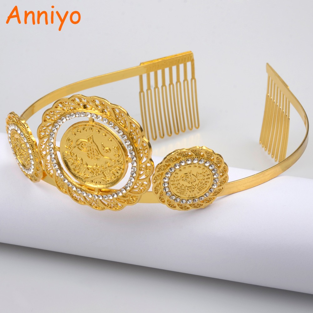 Anniyo Gold Color Turkey Coin Hairband For Women Wedding Hair Accessories Headpieces Jewelry Arab Middle East Crown Gift #059306 anniyo wholesale coin bracelet for women arab chain middle eastern gift gold color coins jewelry middle eastern wedding 048006