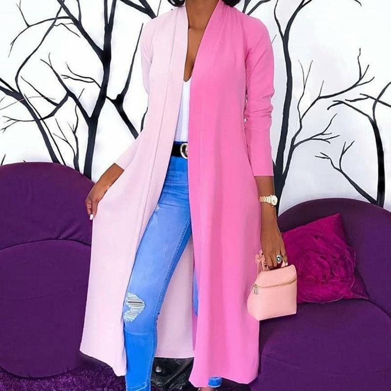 New Womens Loose Long Sleeve Cardigan Draped Kimono Shawl Tops Blouse Spliced Long Shirt