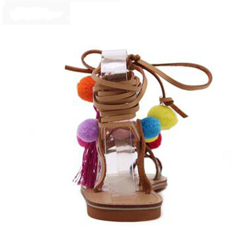 Bohemia Style Fringed Pompoms Lady Gladiator Fringed Sandals Shoes Cross Strap Tie Up Fashion Women Flats Sandals Size 35 40 in Low Heels from Shoes