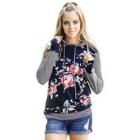 2017 Autumn Fashion Women Floral Print Striped Hoodie Sweatshirt Long Sleeve Casual Women Pullovers Top