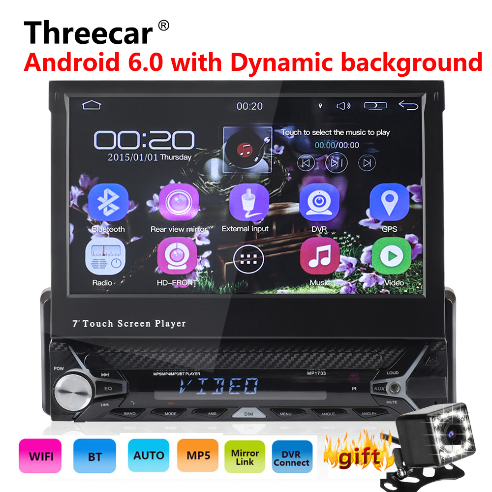 Android 6 0 GPS Navigation Bluetooth FM WIFI Retractable 7 inch Touch Screen Autoaudio player 1din