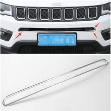 For Jeep Compass 2017 ABS Front Below Grille Grill Molding Trim 1 Pcs