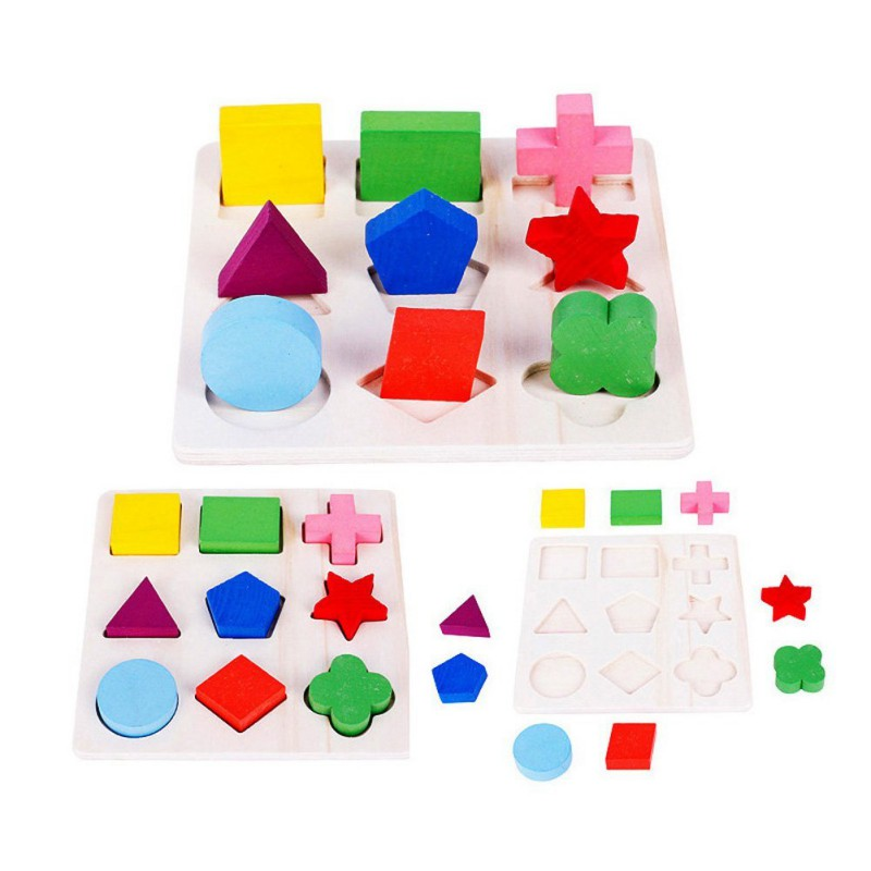 Baby Kids Wooden Board Puzzle Learning Educational Geometry Puzzles Toy  Montessori Toys