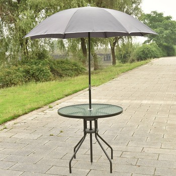 6 PCS Patio Garden Set Furniture 4 Folding Chairs Table With Umbrella Gray New  HW52116
