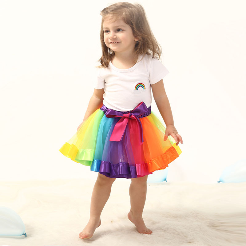 Tutu Skirt Baby Girls Rainbow Tulle Skirts Children Clothes 0-2 Year Kids Colorful Ball Gown Baby Girl Clothes Christmas Outfit