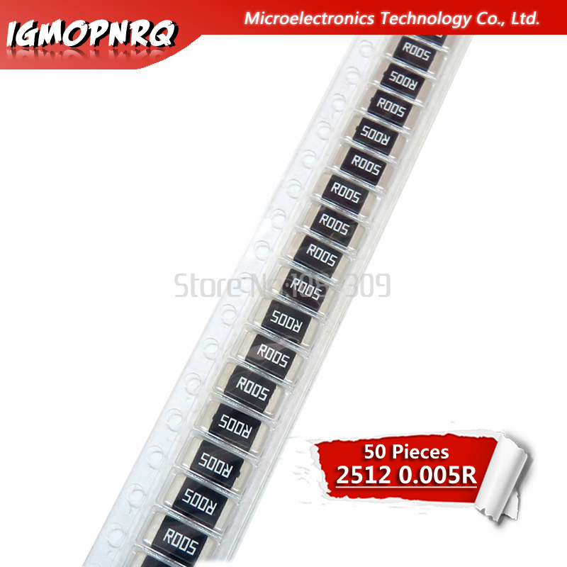 50PCS 2512 SMD Resistor 5% Alloy Resistor 2W 0.005R 0.005 Ohm 5mR R005