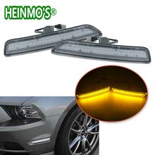 Front Side Marker Lamps with 27-SMD Integrated Amber/White LED Lights For Ford Mustang 2011 2012 2013 2014 Front Bumper for chevy camaro 2010 2011 2012 2013 2014 2015 car front amber rear red side marker lamp turn signals smd led light for camaro