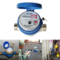15mm Water Meter Plastic Single Flow Dry Cold Water Table Garden Home Water Measuring Meter Minimum Reading 0.0001