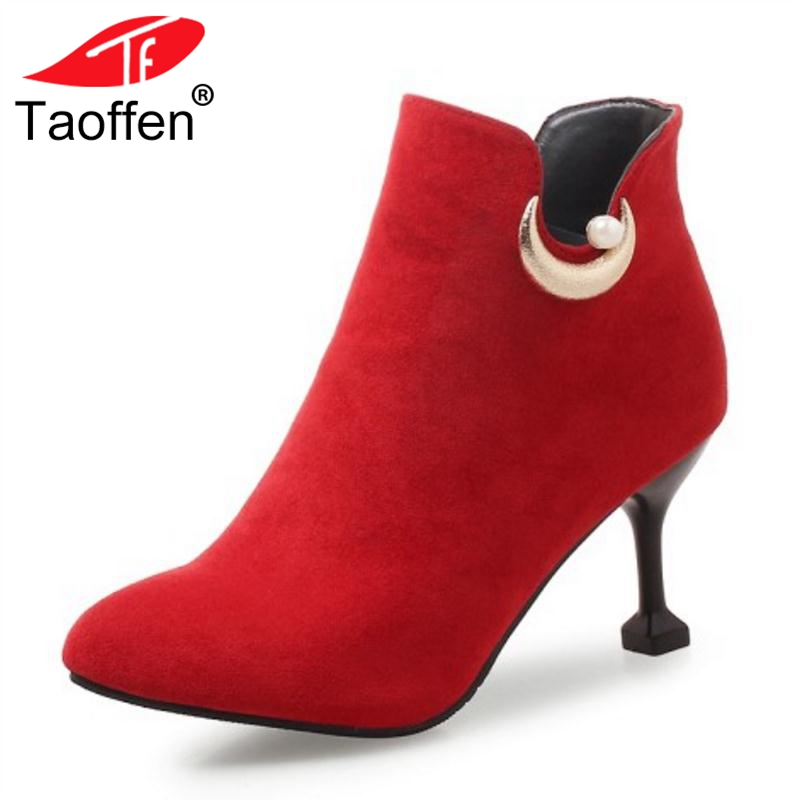 TAOFFEN Big Size 32-46 4 Color Women Winter Boots High Heels Female Ankle Sexy Ladies Shoes Woman Metal And Bead FootwearTAOFFEN Big Size 32-46 4 Color Women Winter Boots High Heels Female Ankle Sexy Ladies Shoes Woman Metal And Bead Footwear