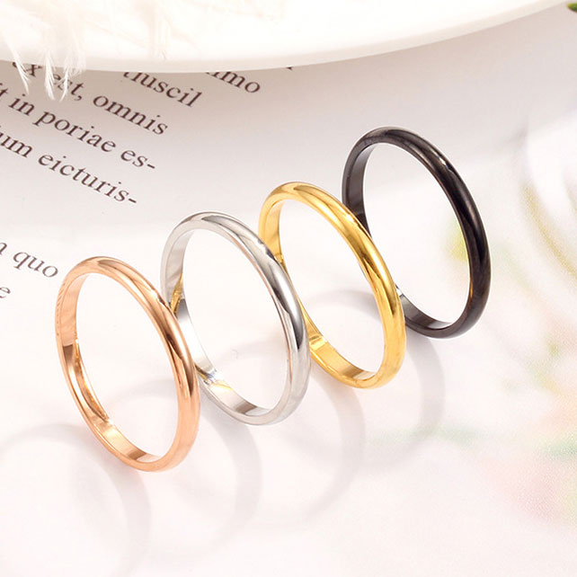 WohltäTig Mossovy Einfache Paar Edelstahl Rose Gold Ring Für Weibliche Engagement Silber Schwarz Ringe Modeschmuck Für Frauen Anillos Eleganter Auftritt Verlobungsringe Hochzeits- & Verlobungs-schmuck