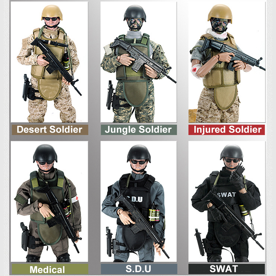 Movable 5 style 12 1/6 SWAT Black Uniform Military Army Combat Game Toys Soldier Set SDU SEALs Action Figure Model Toys E 1 6 sovereign military knights of malta ancient medieval soldier action figure model collections