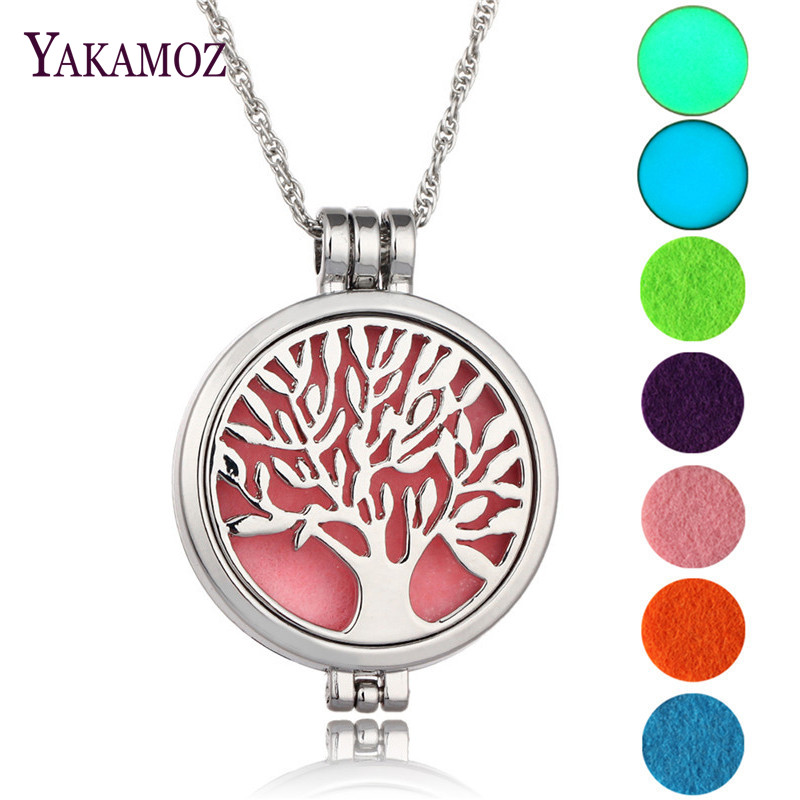 Tree Of Life Vintage Aromatherapy Diffuser Locket Pendant Perfume Necklace Maxi Choker Necklace Women Jewelry Glowing