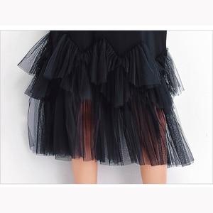 Image 5 - Oladiviプラスサイズ女性メッシュシャツドレスファッションプリント夏半袖カジュアルミディドレス女性ルースチュニック黒4XL 3XL