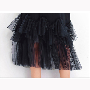Image 5 - Oladivi Plus Size Vrouwen Mesh Shirt Jurk Mode Print Zomer Korte Mouw Casual Midi Jurken Vrouwelijke Losse Tunieken Zwart 4XL 3XL