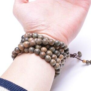 Image 4 - Brazalete de cuentas de madera Natural de sándalo verde, pulsera de oración de Mala Meditación Budista para hombres y mujeres