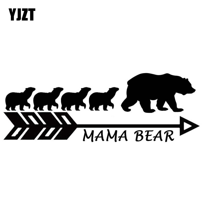 YJZT 17.8CM*6.3CM MAMA BEAR Vinyl Car Sticker Motorcycle Mother Bears Big Family Decal Black Silver C10-01112