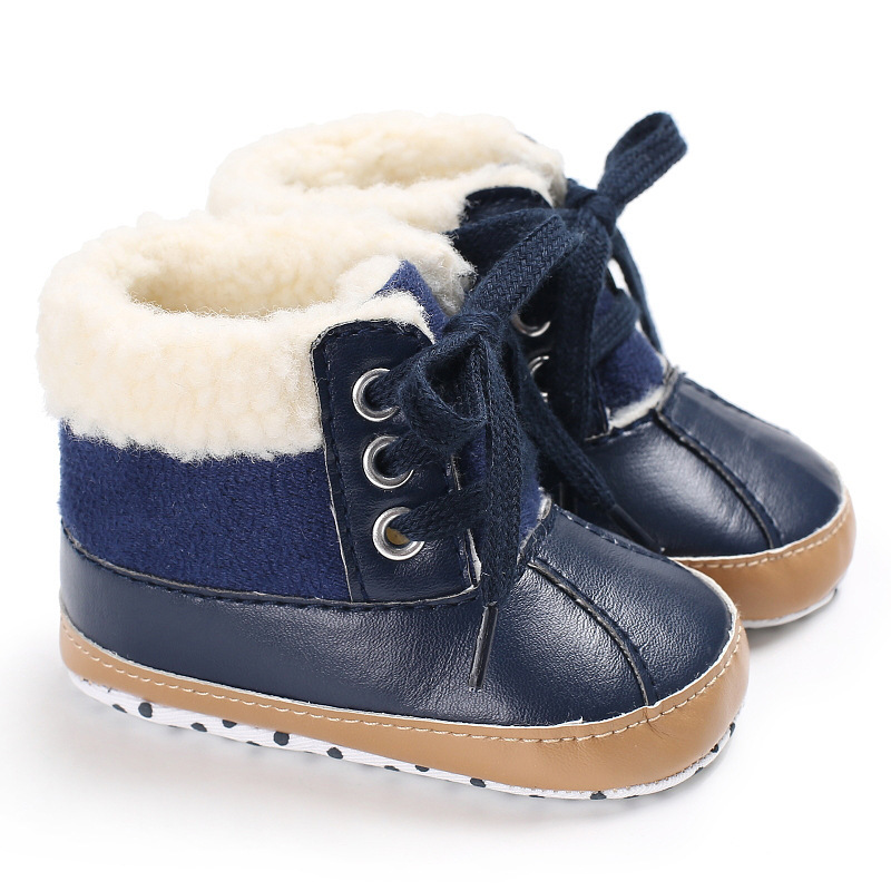 Raise Young PU Leather Winter Plus Velvet Warm Baby Snow Boots Soft Soles Toddler Girl Booties Newborn Infant Boy Shoes 0-18M