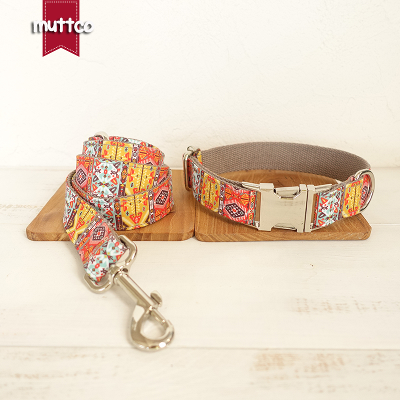 MUTTCO retailing homemade pleasing dog collar THE GRAY BOHEMIAN uique folk style dog collars and leashes set 5 sizes UDC051