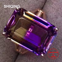 SHIQING Nature Ametrine gemstone ring, 925 sterling silver women ring, engagement ring