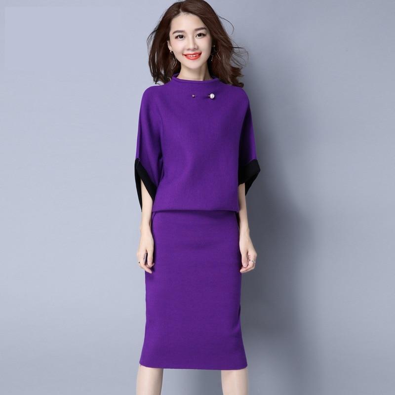 purple Femmes Nouveau Blue Mode Costumes gray Slim En Pièces 2 Pull Jeune 2018 Tops red navy Black Vêtements Jupes Ensembles De Tricot Coréenne Chandails p4w1Aw