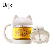 Urijk Cute Tea Infuser Cup Glass Mug Teapot Teabag Mugs Couples Cup