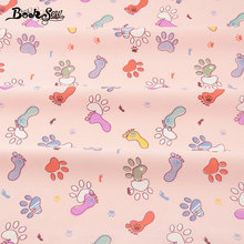 Booksew Cotton Twill Fabric Pink Home Textile Footprint Design Sewing Cloth Tela Tecido For Baby Bedding Set Patchwork Crafts(China)
