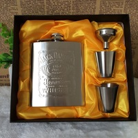 Hip Flask For Alcohol 7oz Set Portable Stainless Steel Wine Bottle Gift Box Pocket Russian Flagon