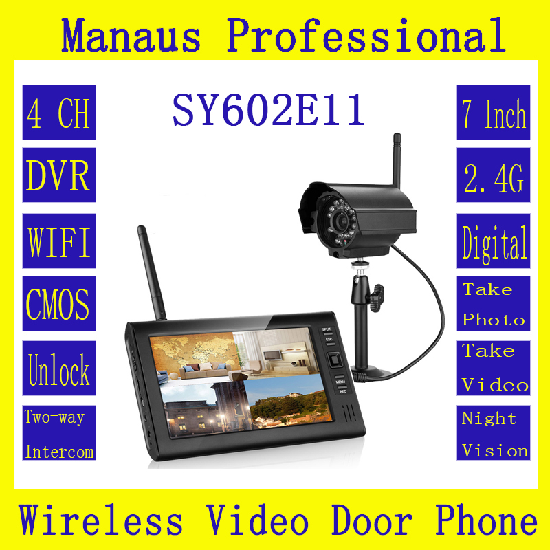 High Quality 7 Inch TFT Digital Monitor 2.4G Wireless Camera Video Door Phone 4CH DVR Security System With IR Night Light Camera