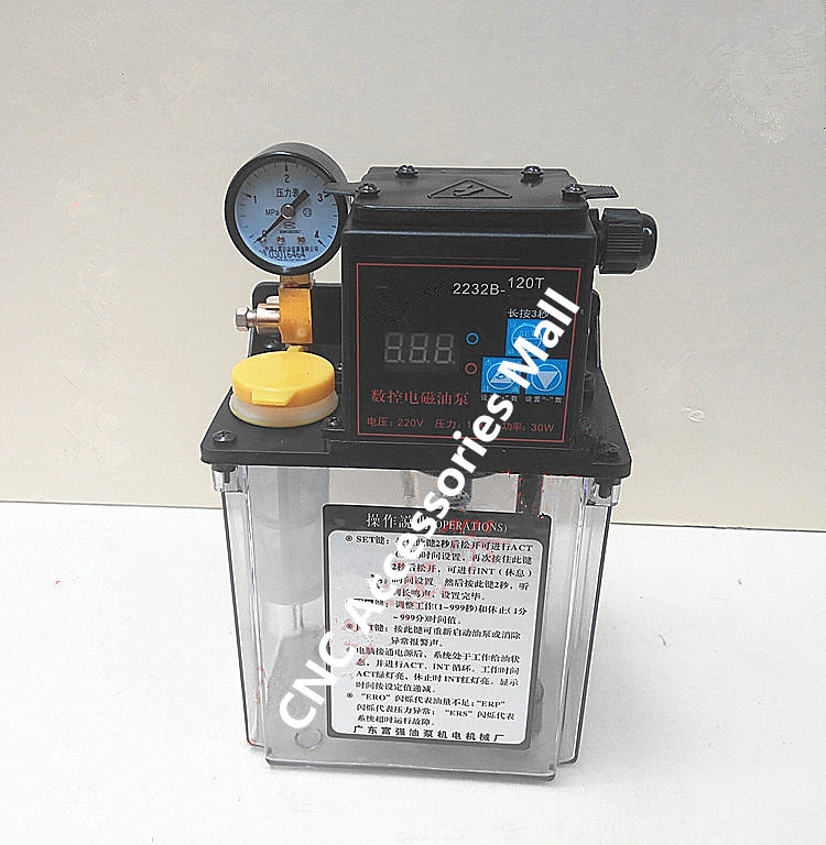 1.2L 220V AC Electric Auto Lubrication Pump Single screen Automatic Oil Pump with pressure gauge full set 1 5l fully automatic lubrication pump 220v single screen oil lubrication pump for cnc router