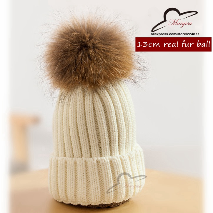 15 colors big real fur poms Classic 13cm Tight Knitted Fur ball Pom Poms knitted Hat Women Cap Winter Beanie fox fur balls pom poms and llama snowsuit 2 colors pre sale