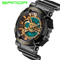 Brand Sanda Mens Dual Display Sports Watches Men Digital Analog Quartz Fashion Wristwatches S-Shock Military Relogio Masculino G