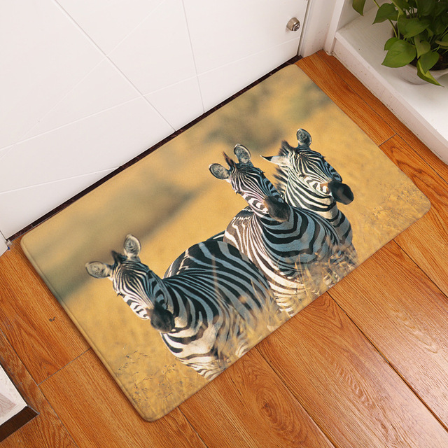 MDCT 3D Africa Savannah Running Zebra Horse Door Mats Area Rugs Carpet Living Room Kitchen Entrance & MDCT 3D Africa Savannah Running Zebra Horse Door Mats Area Rugs ...