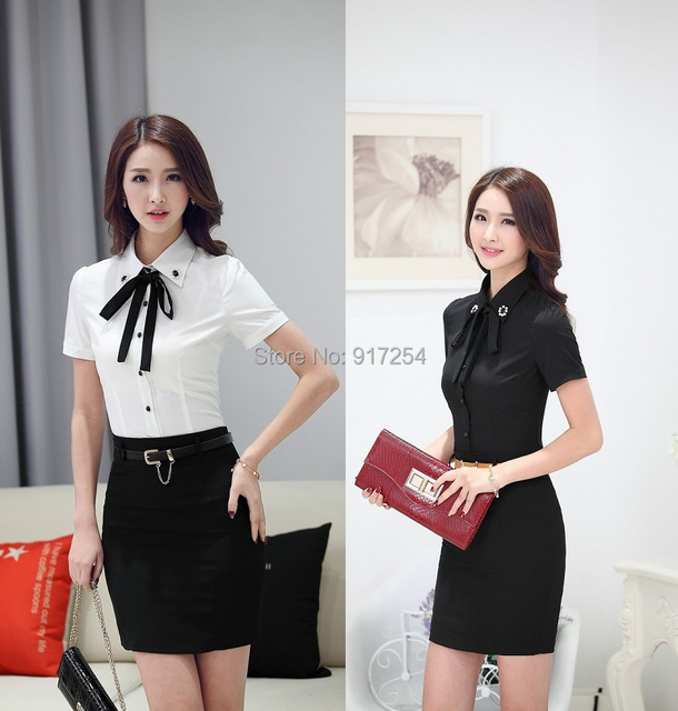 Nova verão 2015 nova moda novidade mulheres de negócio ternos blusas e saia Formal do escritório das senhoras uniformes de trabalho roupas Plus Size