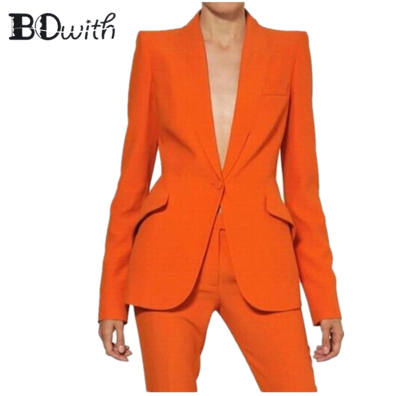 Haute qualité Orange femmes pantalons pantalon de travail costumes OL 2 pièces ensembles femmes Blazer veste et crayon pantalon costume pour femmes ensemble