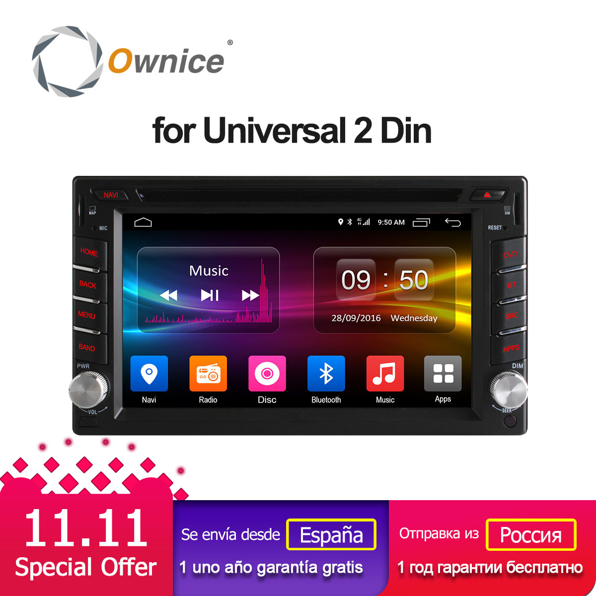 Ownice C500 Android 6.0 Octa 8 Core 2G RAM 2 din car dvd Radio player GPS Navi Video Monitor For universal BT 4G SIM LTE Network ownice c500 7 1024 600 android 6 0 quad core 2 din universal for nissan gps navi bt radio stereo audio player support 4g no dvd