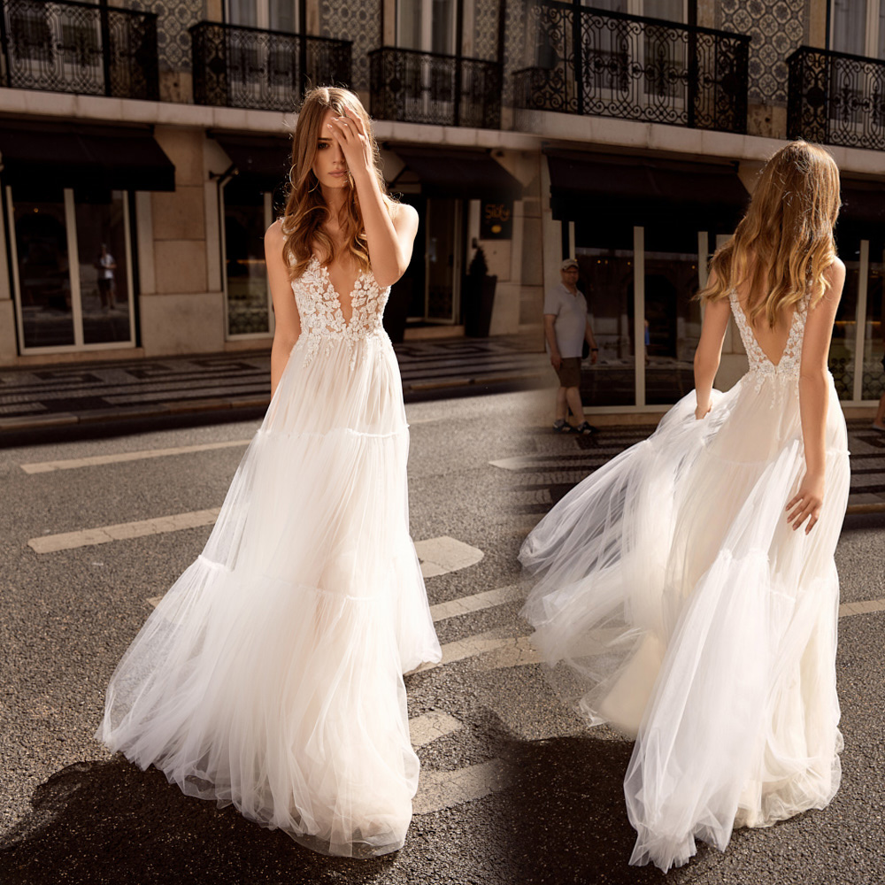 Eightale Boho Wedding Dresses 2019 Hippie Spaghetti Strap Appliques Lace A-Line Wedding Gowns Romatic Vintage Bride Dresses